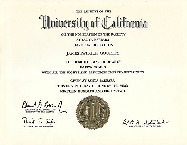 University of CA Certificate